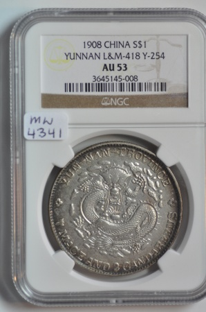World Coins - China, Yunnan Province; Silver 7 Mace 2 Candarrens - Dollar 1908  NGC AU53
