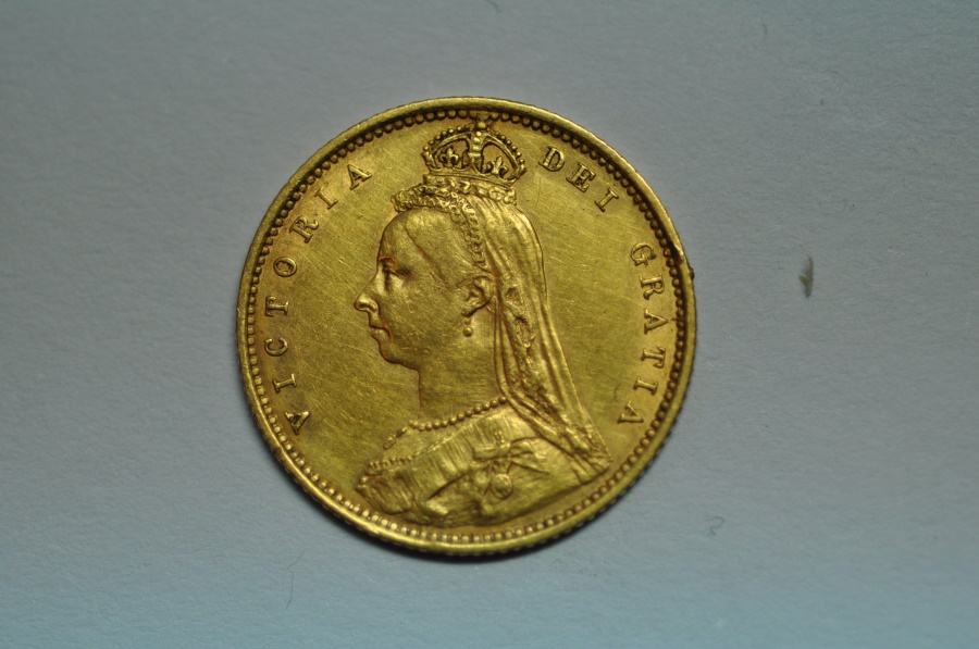 World Coins - Great Britain; Gold 1/2 Sovereign 1892  XF lightly wiped