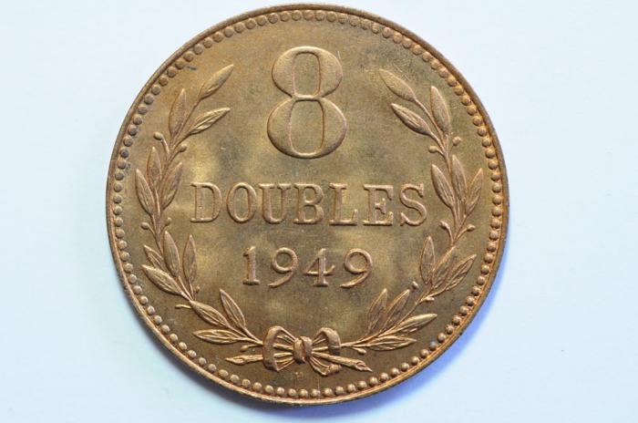 World Coins - Guernsey 8 Doubles 1949H  BU