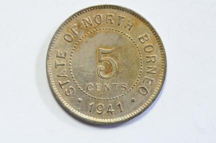 World Coins - British North Borneo 5 Cent 1941 H  AU