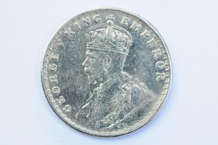 World Coins - India British Silver Rupee 1915  XF