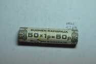 World Coins - Finland; 1 Penni 1975 Original Mint Roll - 50 Coins BU