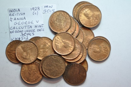 World Coins - India, British; 1/4 Anna 1928 (c) - lot of 30 uncirculated coins