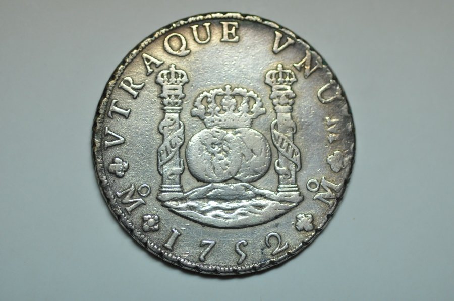 World Coins - Mexico; Silver Crown, Pilar 8 Reales 1752 MF  VF