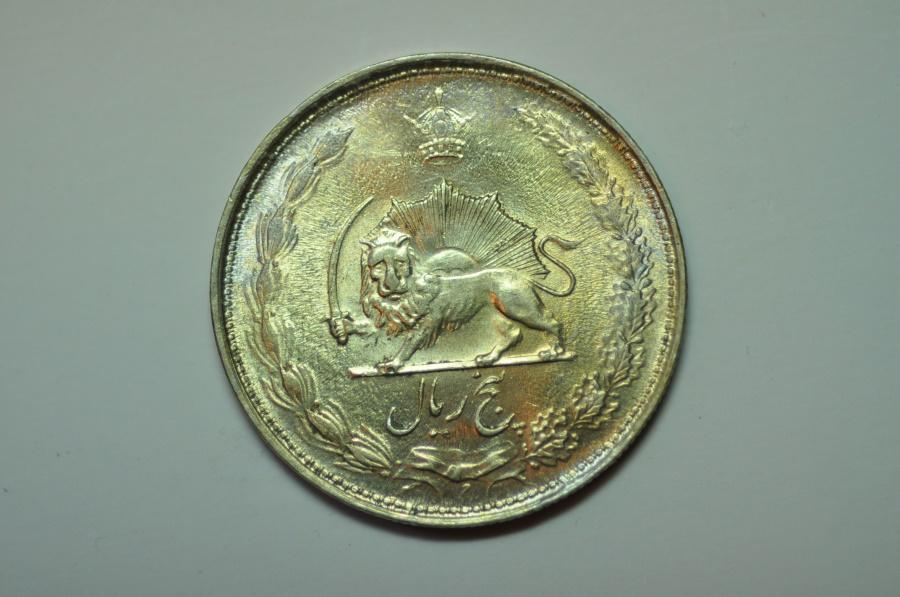 World Coins - Iran; Silver 5 Rials SH1323 - 1944 AD   BU