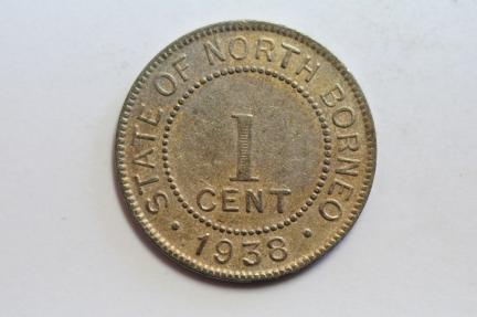 World Coins - British North Borneo Cent 1938 H  XF