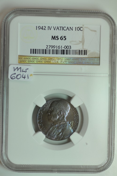 World Coins - Vatican; 10 Centesimi 1942 Anno IV  NGC MS65   Mintage: 7,500