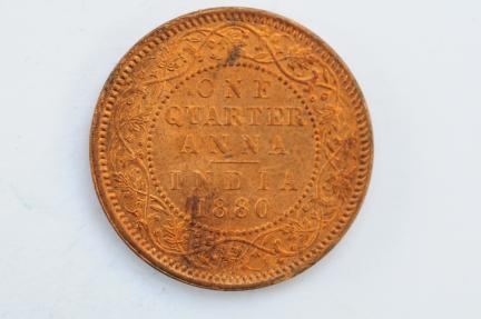 World Coins - India British 1/4 Anna 1880  BU