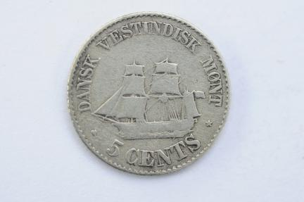 World Coins - Danish West Indies 5 Cents 1878  VF-