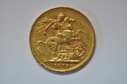 World Coins - Great Britain; Gold Sovereign -  1871  VF+