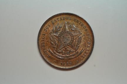 World Coins - Brazil; Bronze 20 Reis 1889  BU