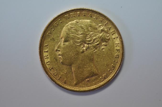 World Coins - Australia; Gold Sovereign 1875 M  VF+
