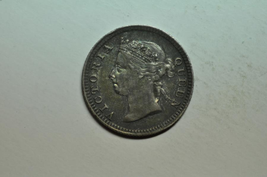 World Coins - Hong Kong; Silver 5 Cents 1897  toned UNC