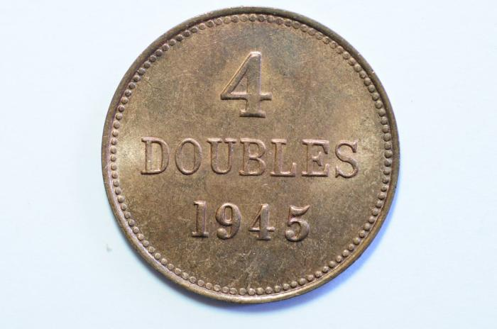 World Coins - Guernsey 4 Doubles 1945H  BU