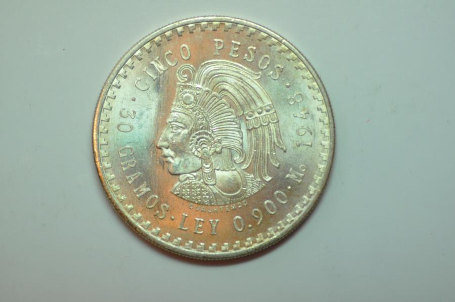 World Coins - Mexico; Silver 5 Pesos 1948  Aztec Cuauhtemoc
