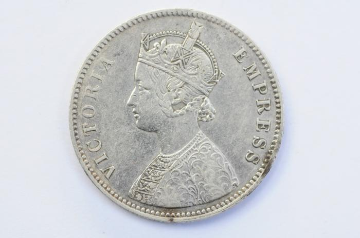 World Coins - India British Silver Rupee 1883 (c)  XF