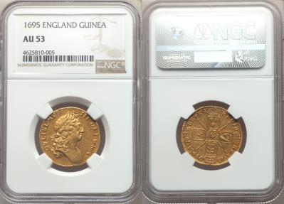 World Coins - Great Britain 1695 William III Gold Guinea NGC AU-53 UNDERGRADED!!