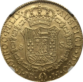 World Coins - Colombia 1800 NR JJ Charles IV gold 8 Escudos NGC AU Details