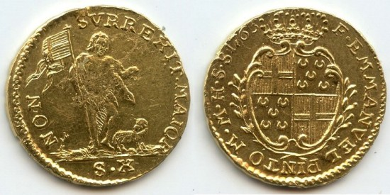 World Coins - Malta, Gold 10 scudi, 1763, RARE