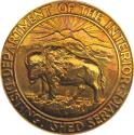 World Coins - RARE 1953 United States. Department of the Interior. Distinguished Service Medal. Gold. 40 mm, 54.58 g.
