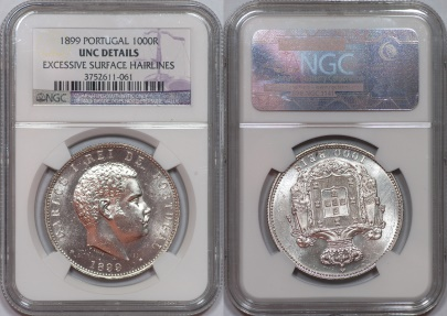 World Coins - Portugal 1899 1,000 Silver Reis NGC UNC Details