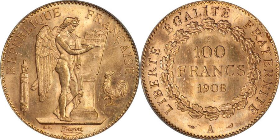 World Coins - France 1908-A Third Republic Gold 100 Francs PCGS MS-63