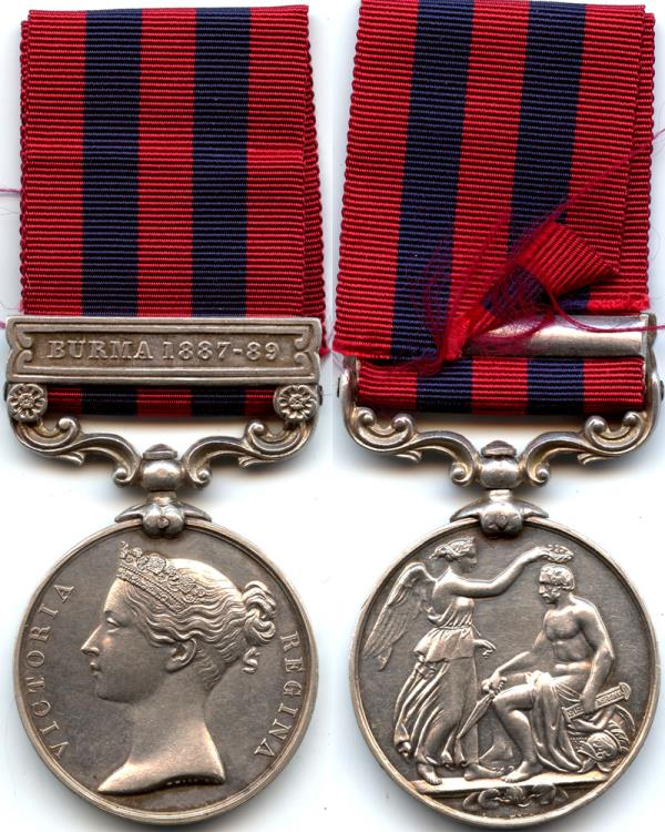 World Coins - British Victoria India General Service Medal 1854-95, one clasp, Burma 1887-89