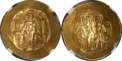 World Coins - Byzantine Isaac II Angelus. First reign, 1185-1195. Gold Hyperpyron NGC MS