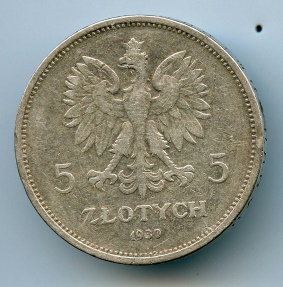World Coins - Poland 5 zlotych 1930, Commemorative 1830 uprising, SCARCE
