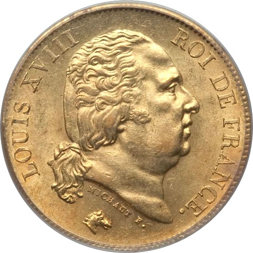 World Coins - France 1818-W Louis XVIII gold 40 Francs PCGS MS-62