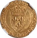 World Coins - France Charles VI (1380-1422) gold Ecu d'or  NGC MS-63