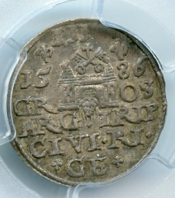 World Coins - Poland, Riga, 3 grosh. 1586 PCGS MS-62 SCARCE in UNC