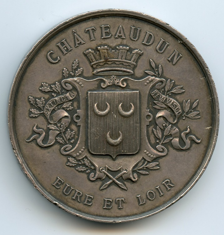 World Coins - France, Silver medal, Battle of Chateaudun, 1870 RARE