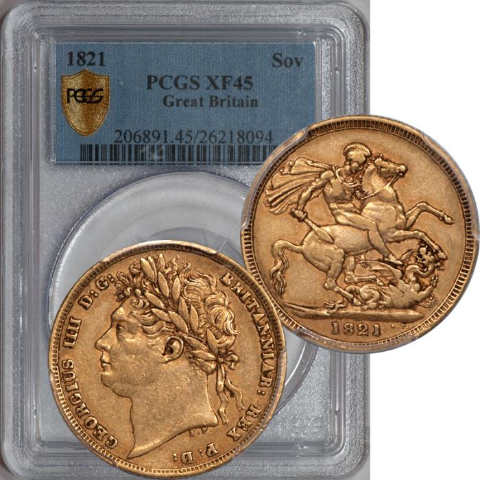 World Coins - Great Britain 1821 George IV Gold Sovereign PCGS XF-45 Secure Holder (1)