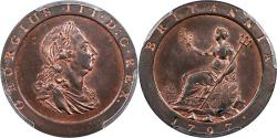 World Coins - Great Britain 1797 George III Cartwheel Penny PCGS MS-64 Red Brown Gold Shield