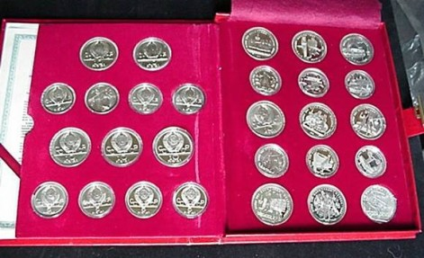 Russia Ussr 28 Coin Silver Proof Set Moscow Olympic