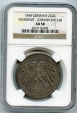 World Coins - Germany,Frankfurt,2 gulden,Silver,1848,NGC AU-58,Scarce,Low Mintage