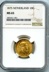 World Coins - Netherlands GOLD 10 guldens 1875 NGC MS-65 Choice UNC