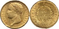 World Coins - France 1811-A Napoleon Gold 40 Francs PCGS MS-62