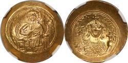 World Coins - Byzantine Constantine IX Monomachus 1042-1055 Gold Histamenon Nomisma NGC Ch.AU