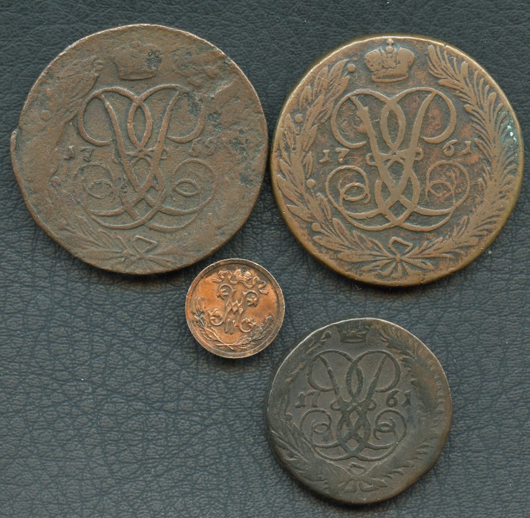 World Coins - Russia,lot of 4 copper coins: Elizabeth - Nicholas II