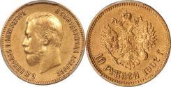 World Coins - Russia 1902-AR Nicholas II Gold 10 Roubles PCGS AU-55