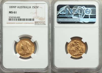 World Coins - Australia 1899-P Victoria Gold Sovereign NGC MS-61 KEY DATE!!
