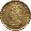 World Coins - Colombia 1831 BOGOTA-RS Republic gold 8 Escudos NGC AU-58