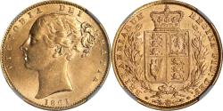 World Coins - Great Britain 1861 Victoria Gold Sovereign NGC MS-61 N over N in BRITANNIARUM !!