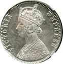 World Coins - 1900 (B) BRITISH INDIA RUPEE NGC MS63 SCARCE SNOW WHITE LUSTER