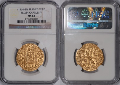 World Coins - France Charles V Gold Franc a Pied NGC MS-63