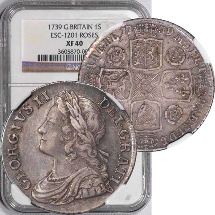 World Coins - Great Britain 1739 George II Silver Shilling NGC XF-40