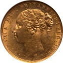 World Coins - Australia 1879-M Victoria Gold Sovereign NGC MS-61