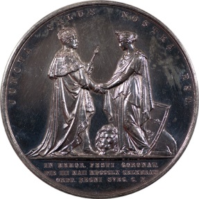 World Coins - Sweden 1860 Coronation of Louisa of the Netherlands Silver Medal